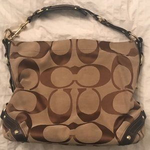 Coach canvas hobo bag with leather detailing